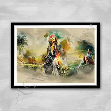 Jack Sparrow print Pirates of the Caribbean poster Instant Download Digital Print Wall art Jack Sparrow poster Dead Men Tell No Tales