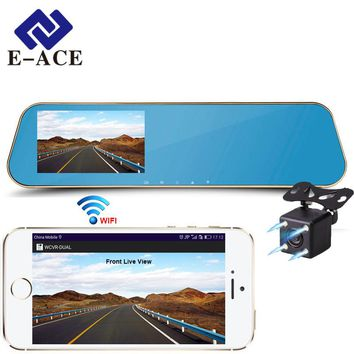 E-ACE Wifi Car Dvrs Full HD 1080P Rear View Mirror With Dual Lens Camera Night Vision Dash Cam Automotive Out Video Recorder
