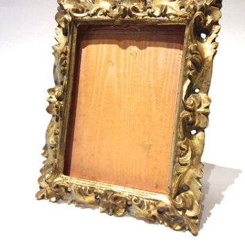 "Vintage Gold Frame Ornate Scroll Carved Wooden Burnished Gold Picture 7"" x 9"""