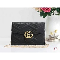 GUCCI Tide Brand Ms. Handbag Wavy Lines Bag Black