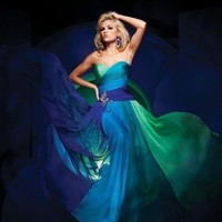 2014 Rainbow Chiffon Formal Party Evening Long Prom Dress from MustHaveGift