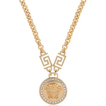 Versace Gold Metal Medusa Pendant Necklace w/White Crystals