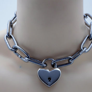 Stainless steel slave collar chain link with lock- Free US Shipping