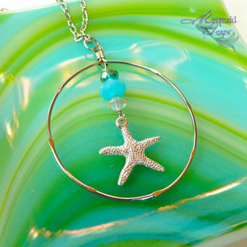 Starfish Necklace, nautical pendant for beach brides, Hawaiian jewelry by Mermaid Tears Hawaii