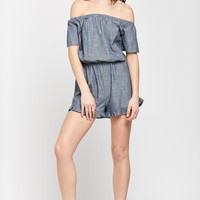 Denim A Place in the Sun Chambray Ruffled-Hem Romper