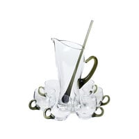 Mid Century Cocktail Set, Blown Glass Pitcher, Drink Cups, Green Stirring Rod