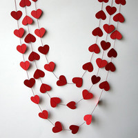 Valentines day decor - Valentine decor - Heart garland - Valentines day heart garland - Paper garland - Wedding decoration - Bridal shower