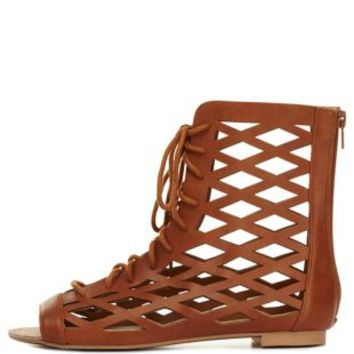 Cognac Qupid Cut-Out Lace-Up Gladiator Sandals