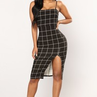 Inez Midi Dress - Black/White