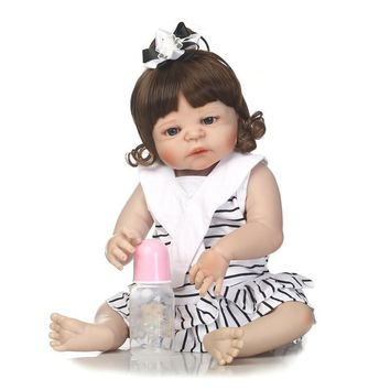 "New Arrival 23"" full silicone Girl reborn dolls for Kids bebe reborn bonecas rooted Black hair Realistic reborn babies girls"