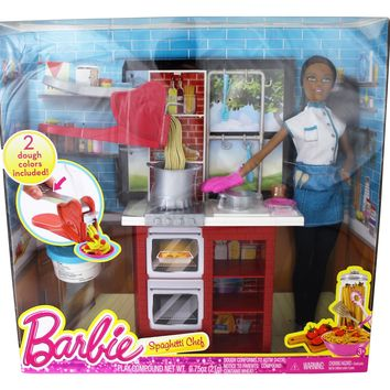 Barbie Spaghetti Chef Doll, Brunette, & Playset- African American