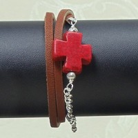 Leather Wrap Bracelet Chestnut with Red Howlite Maltese Cross