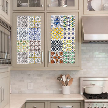 Vinyl decal sheet - Tile Decals - Tile decals for Kitchen or Bathroom Mexico, Morocco, Portugal, Spain, Mosaic #2