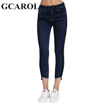 GCAROL New High-Waisted Ankle Length Women Pants The Side Color Spliced Stretch Slim Pencil Denim Jeans XS-L For 4 Season
