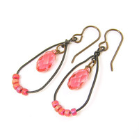 Coral Earrings - Rustic Crystal Teardrop Brass Dangle Drop Jewelry