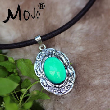 Mojo Hot Sale Fashion Mood Pendants Necklace Oval Mood Color Changeable Stone Bohemia Necklaces For Women Jewelry MJ-SNK008