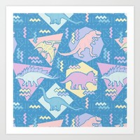Nineties Dinosaurs Pattern  - Pastel version Art Print by Chobopop