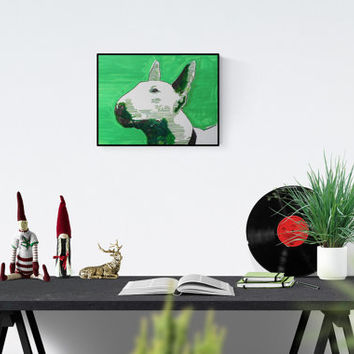 Dog Art: Bull Terrier - original art -  handsigned - unique piece - free dispatch - handmade pop art illustration