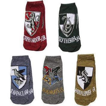 Harry Potter Hogwarts House Crests Heathered No Show Adult Socks - 5 Pack