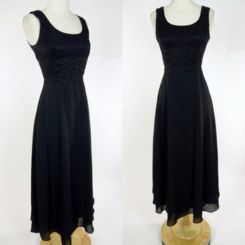 1990s black maxi dress, empire waist sleeveless petite floor length gown, Small