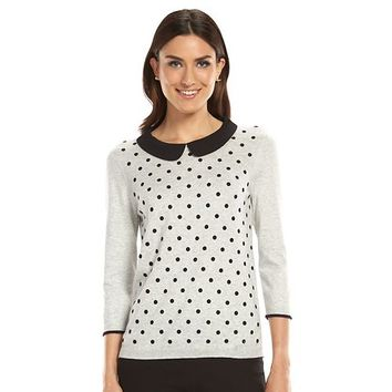 ELLE™ Flocked Dot Crewneck Sweater - Women's