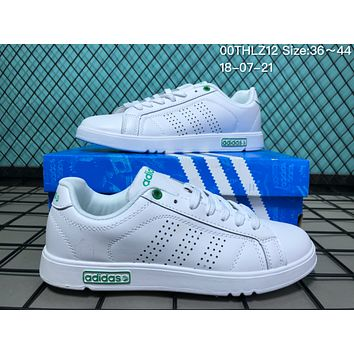 JIJS2 A040  EQTsh NEOER Leather Punching Breathable Casual Skate Shoes White Green