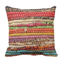 Woven fabric rope style pillow