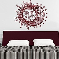 Wall Decal Sun Moon Sunshine Stars Crescent Dual Ethnic Night Symbol Vinyl Sticker Decals Nursery Home Decor Bedroom Art Design Interior NS822