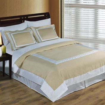 Wrinkle Free Combed cotton Hotel Linen/White Duvet cover set