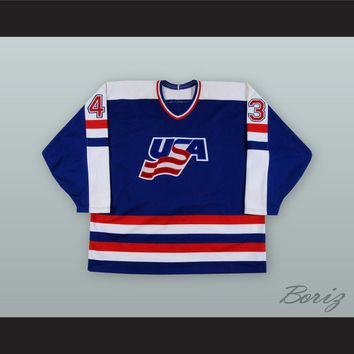 Moe Mantha 43 USA National Team Blue Hockey Jersey