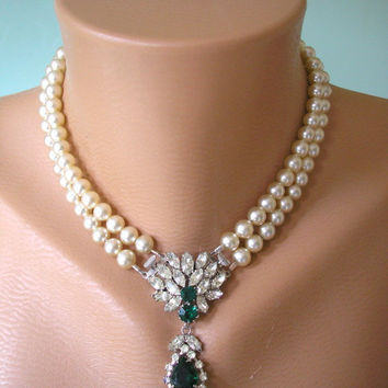 Art Deco Jewelry, Great Gatsby Jewelry, Emerald Necklace, Pearl and Emerald Choker, Cream Pearls, Downton Abbey, Bridal Choker, Vintage