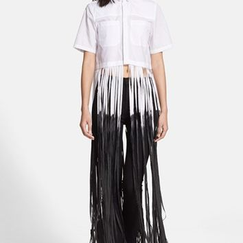 Women's EACH X OTHER Dip Dyed Long Fringe Cotton Poplin Shirt