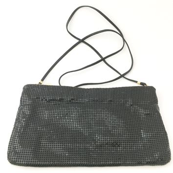 Whiting and Davis Purse Handbag Black Mesh Metal Cross body Shoulder Bag Vintage Accessory