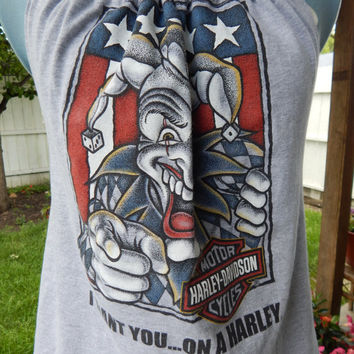 Harley Davidson Low Country Charleston, SC  Upcycled Women's Tank Top  OOAK Shirt Summer Shirt, Festival Clothes, Halter Top,