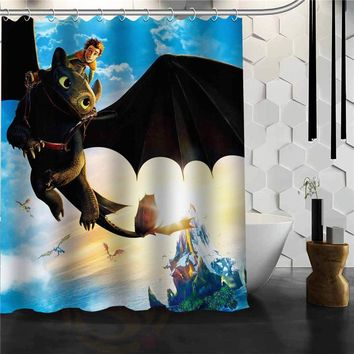Custom How to Train Your Dragon Shower Curtain Bathroom Products Creative Polyester Home Shower Curtain/Bathroom Product