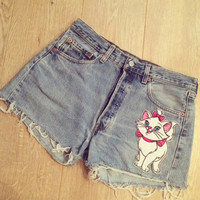 Disney The Aristocats Marie Genuine Levi's Shorts Handmade Customised