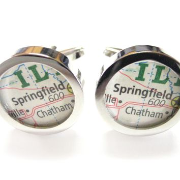 Springfield Illinois Map Cufflinks