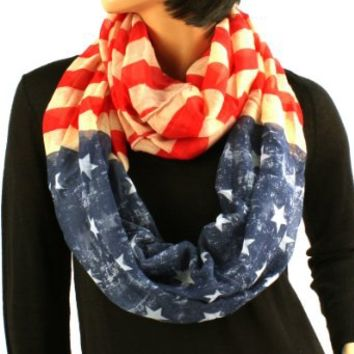 Original Patriotic American USA Flag Loop Circle Chain Infinity Scarf Chain