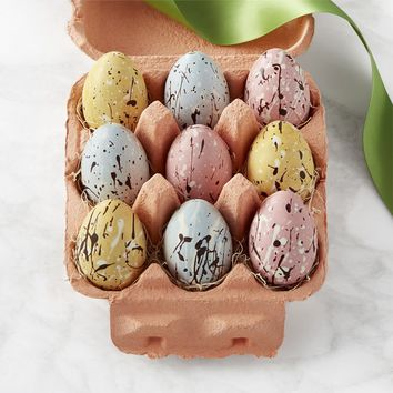 Speckled Chocolate Eggs in a Crate
