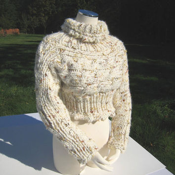 Hand Knit Mohair Wool Cropped Turtleneck Sweater With Cable Beige Off-White