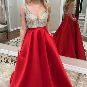 Beaded Top Satin Long Prom Dress Ball Gown 2018 Wedding Party Dress Formal Evening Gowns PDS0436