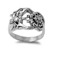 925 Sterling Silver Pollination Butterfly Flower 14MM Ring