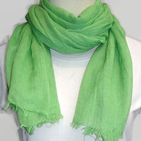 Green Scarf, light green scarf, cotton scarf, crinkle scarf, spring / summer scarf