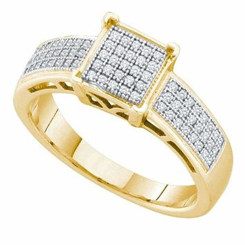 10kt Yellow Gold Women's Round Diamond Square Cluster Bridal Wedding Engagement Ring 1-5 Cttw - FREE Shipping (US/CAN)