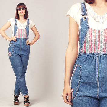90s Denim Dungarees / Gingham and Denim Overall / High Waisted Denim Jumpsuit
