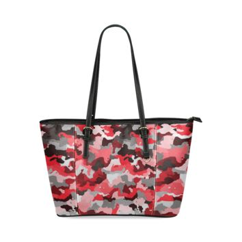 Women Shoulder Bag Camouflage Red,Black Leather Tote Bag