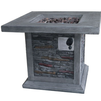 Gray Stone Outdoor Gas Fire Pit