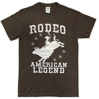 Rodeo American Legend Western Cowboy T-Shirt Funny Humor Vintage Tee S - 2XL