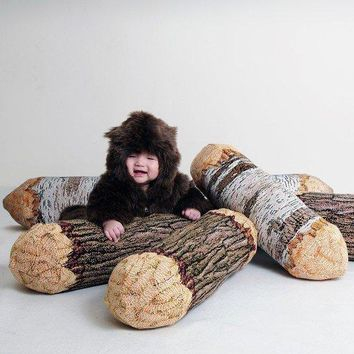 Long Cotton Wood Tree Log Bolster Pillow   10% For Our Facebook Fans