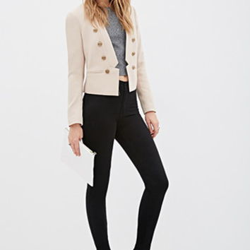 Double-Breasted Collarless Blazer